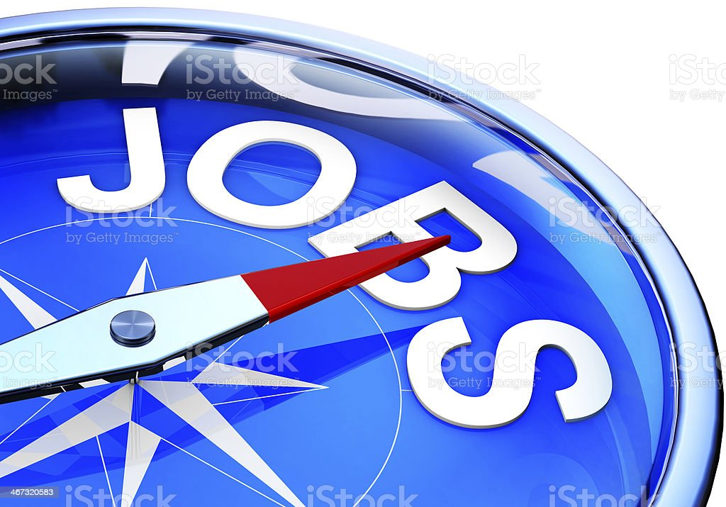 Compass showing the way to new jobs  royalty-free stock photo