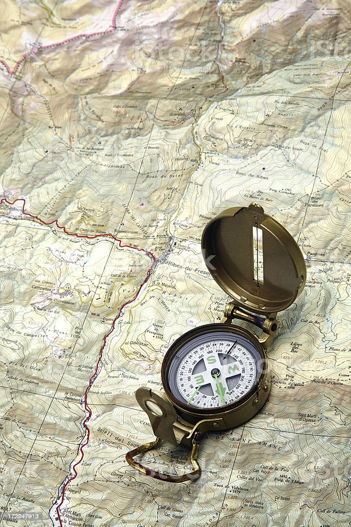 Compass upon a map royalty-free stock photo