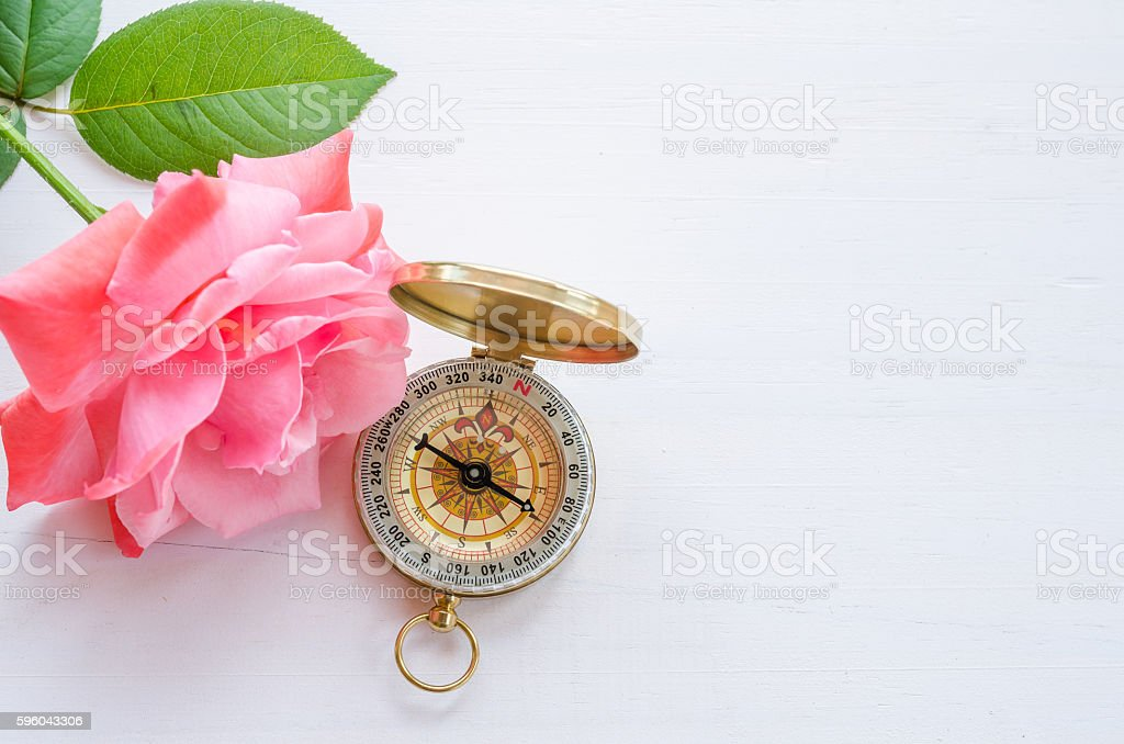 Compass with beautiful pink rose on a white wooden background royalty-free stock photo