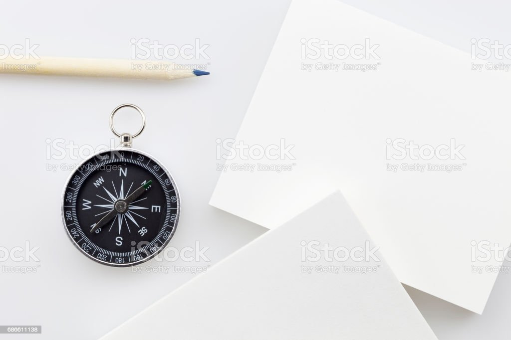 compass with blank white business paper,pencil on white background,Business direction concept. royalty-free stock photo