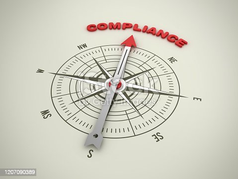 859525326 istock photo Compass with COMPLIANCE Word - 3D Rendering 1207090389