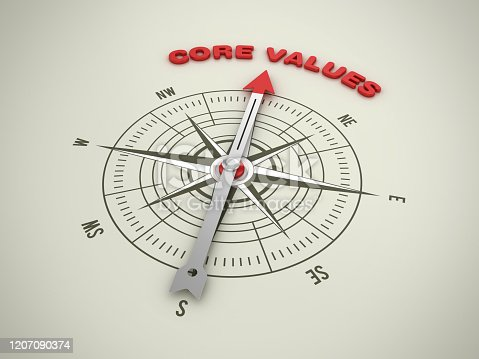859525326 istock photo Compass with CORE VALUES Word - 3D Rendering 1207090374