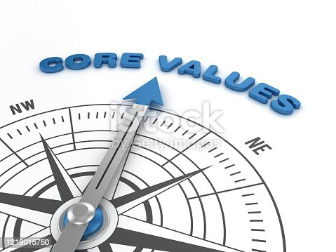 859525326 istock photo Compass with CORE VALUES Word - 3D Rendering 1219015750