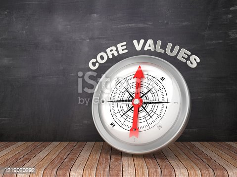 859525326 istock photo Compass with CORE VALUES Word on Chalkboard - 3D Rendering 1219020292