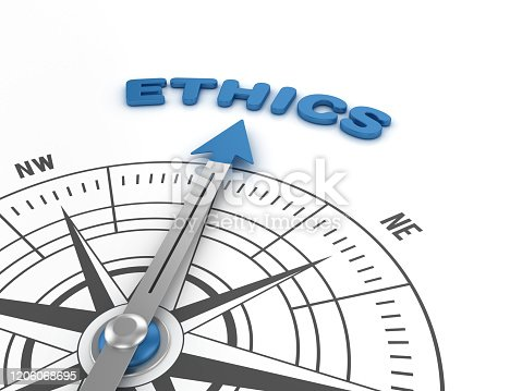 859525326 istock photo Compass with ETHICS Word - 3D Rendering 1206068695