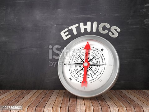 859525326 istock photo Compass with ETHICS Word on Chalkboard - 3D Rendering 1217898602