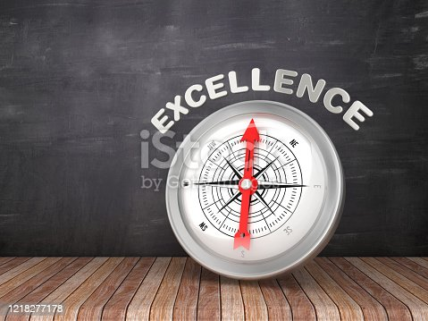 836284468 istock photo Compass with EXCELLENCE Word on Chalkboard - 3D Rendering 1218277178