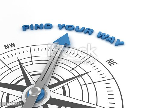 Compass with FIND YOUR WAY Phrase - 3D Rendering