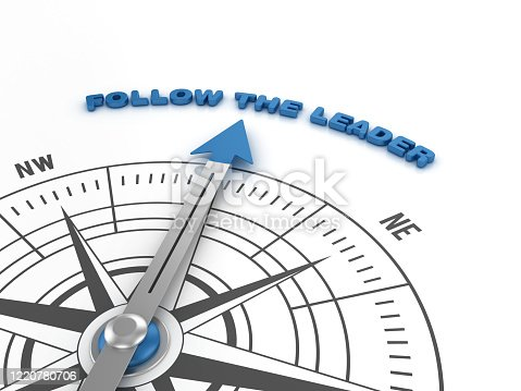 Compass with FOLLOW THE LEADER Phrase - 3D Rendering