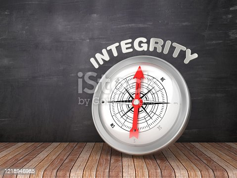 859525326 istock photo Compass with INTEGRITY Word on Chalkboard - 3D Rendering 1218946985