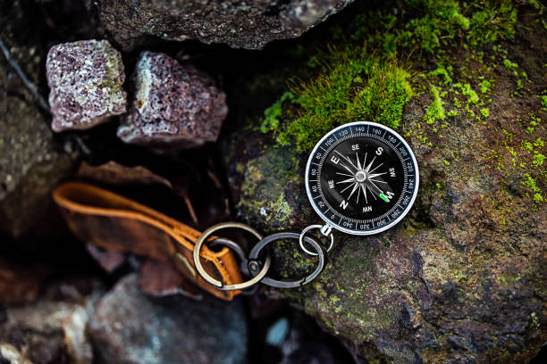 Compass with leather keychain on rock natural background Using wallpaper or background travel or navigator image Compass with leather keychain on rock natural background Using wallpaper or background travel or navigator image compass stock pictures, royalty-free photos & images