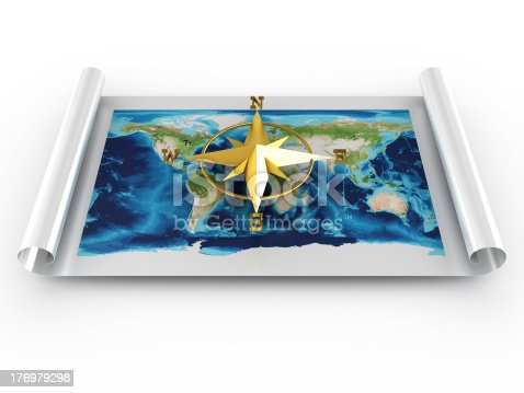 187602778 istock photo Compass with map of world. 3D image 176979298