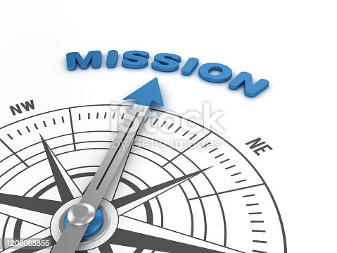 Compass with MISSION Word - 3D Rendering