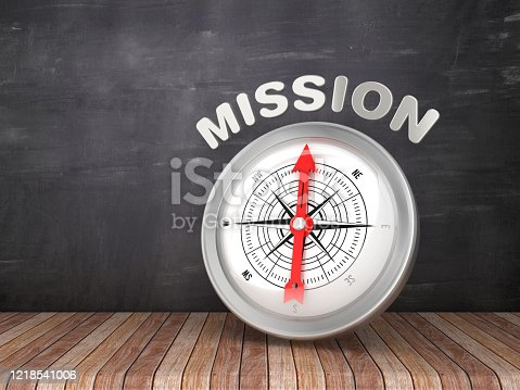 859525326 istock photo Compass with MISSION Word on Chalkboard - 3D Rendering 1218541006