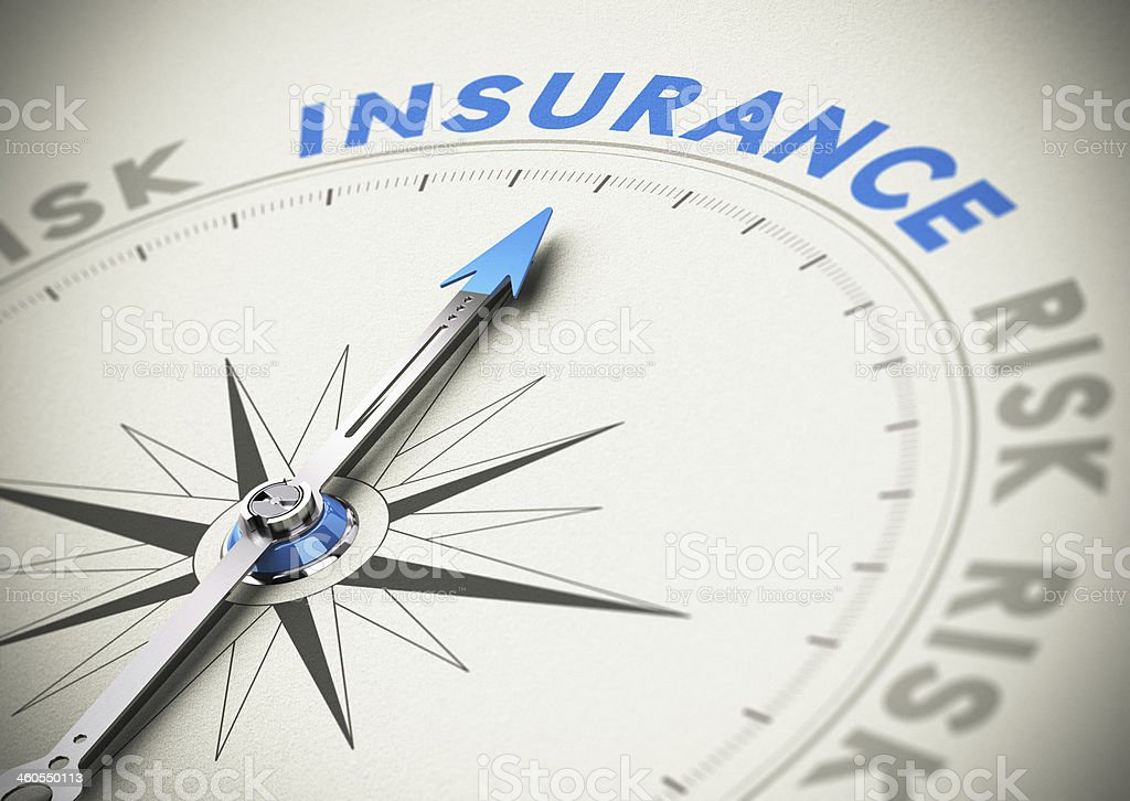 Compass with needle pointing north to 'insurance' stock photo