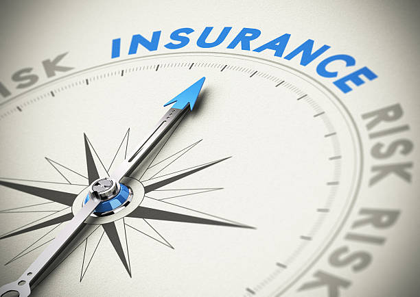 "compass with needle pointing north to ""insurance"" - insurance stock photos and pictures"