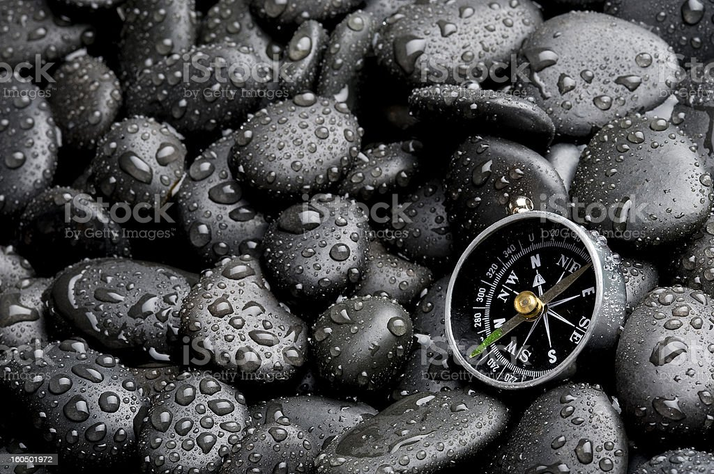 Compass with rock cover water drop stock photo