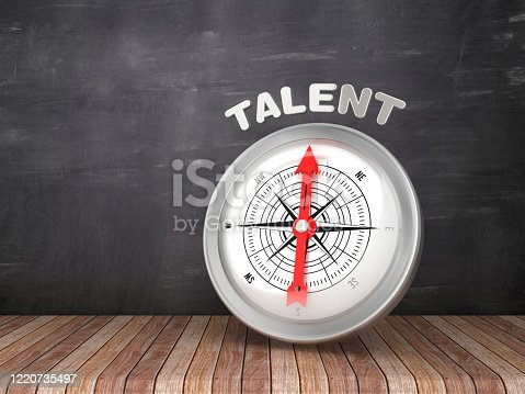 istock Compass with TALENT Word on Chalkboard - 3D Rendering 1220735497