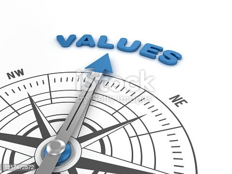 istock Compass with VALUE Word - 3D Rendering 1217472572
