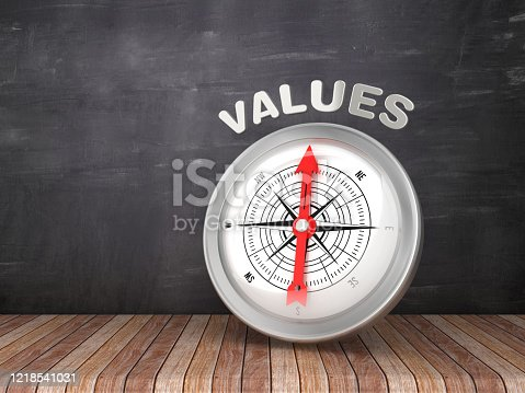 859525326 istock photo Compass with VALUE Word on Chalkboard - 3D Rendering 1218541031