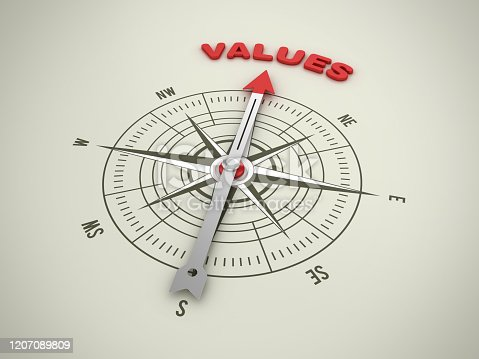 859525326 istock photo Compass with VALUES Word - 3D Rendering 1207089809