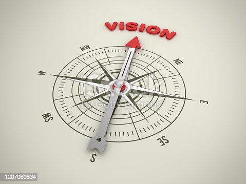 859525326 istock photo Compass with VISION Word - 3D Rendering 1207089834