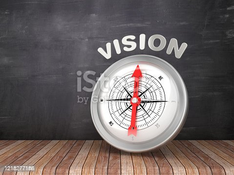 859525326 istock photo Compass with VISION Word on Chalkboard - 3D Rendering 1218277186