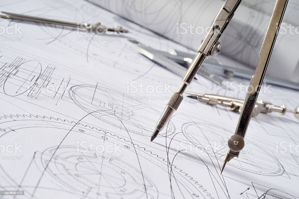 compasses and blueprint stock photo