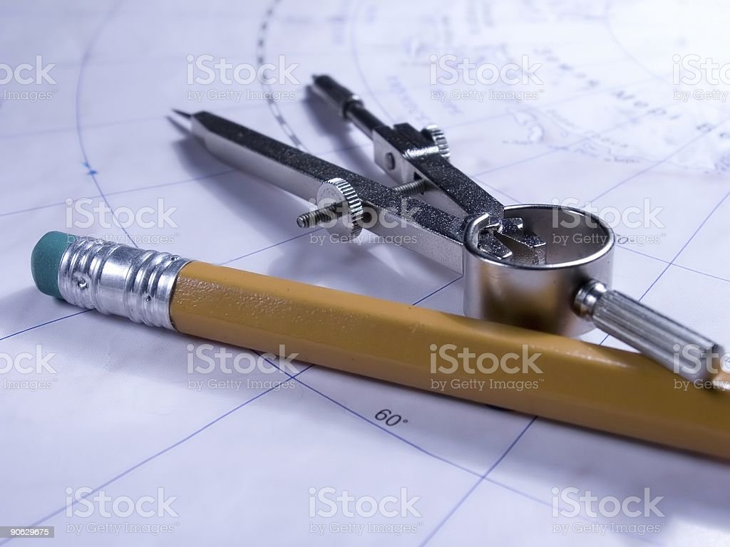 Compasses and pencil on the map royalty-free stock photo