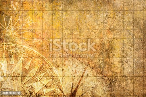 Compasses overlayed on top of an old world map on a textured background.