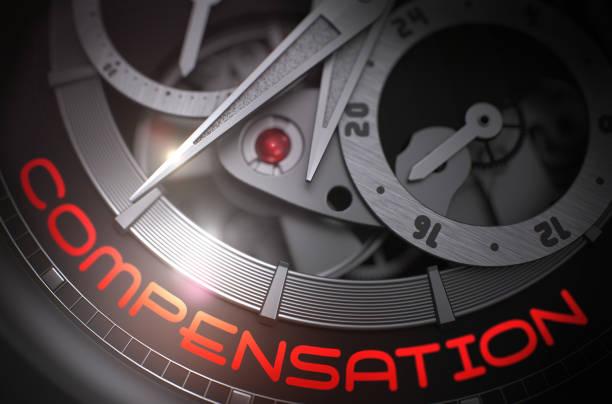 compensación en el mecanismo de reloj de pulsera mecánico. 3d - indemnización compensación fotografías e imágenes de stock