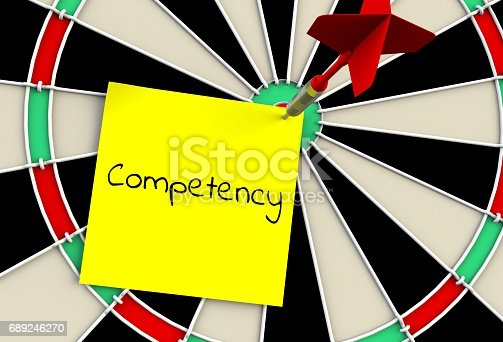 Competency, message on dart board, 3D rendering