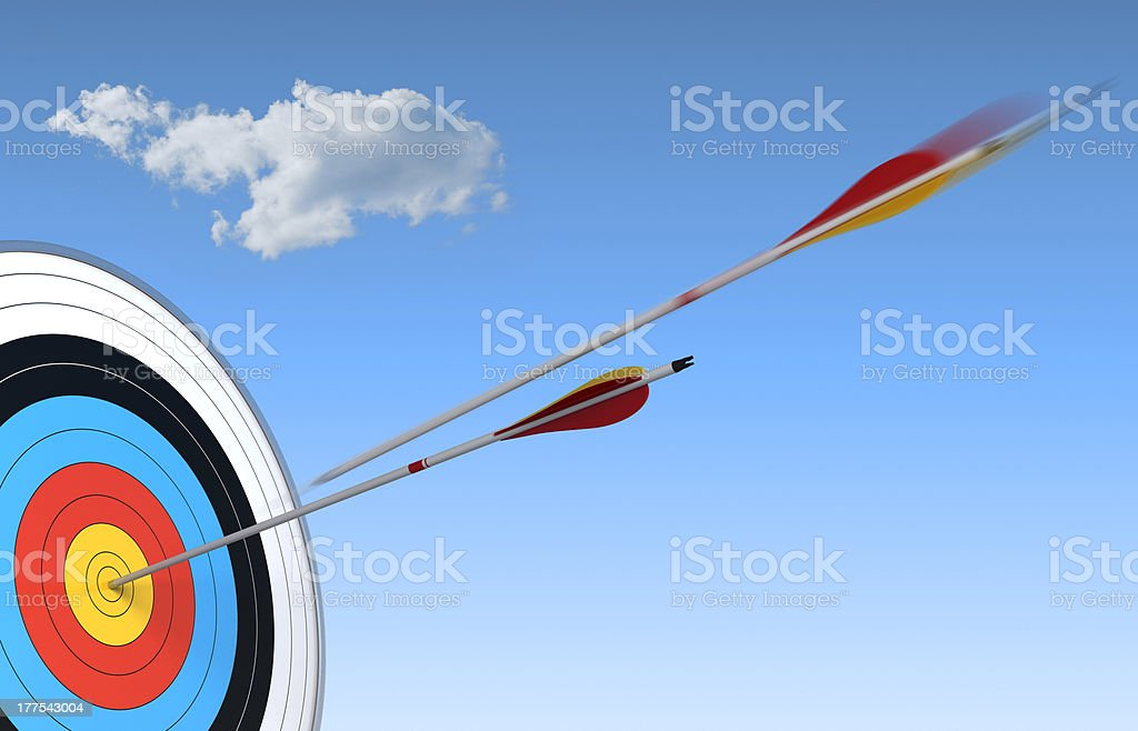 competition concept, hitting the mark, arrow and target stock photo
