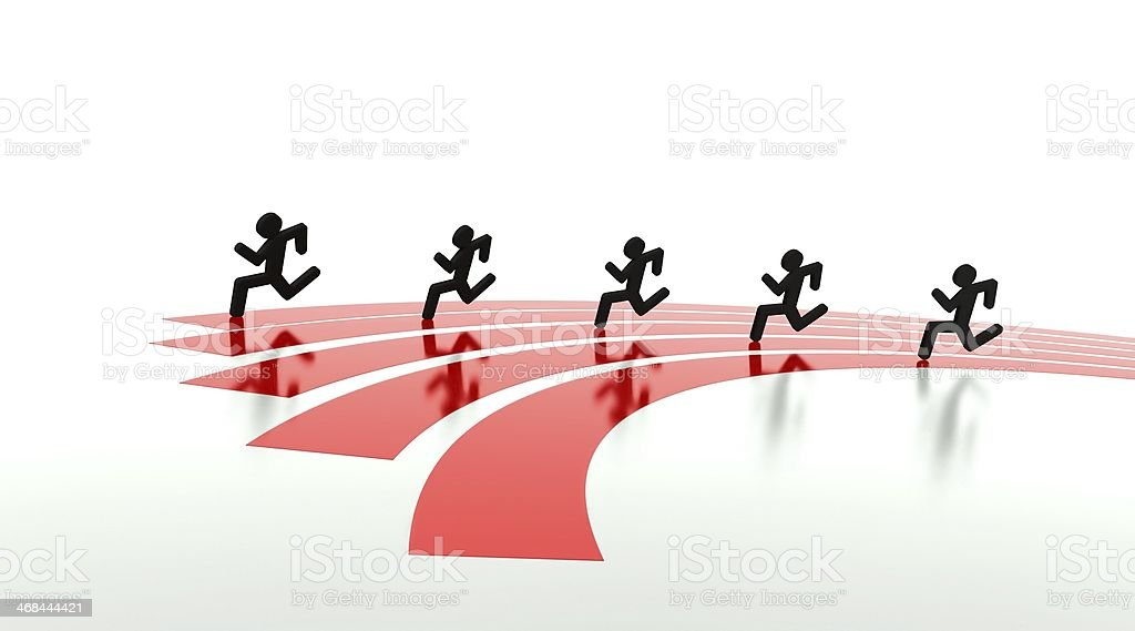 Competition concept, race on running tracks stock photo