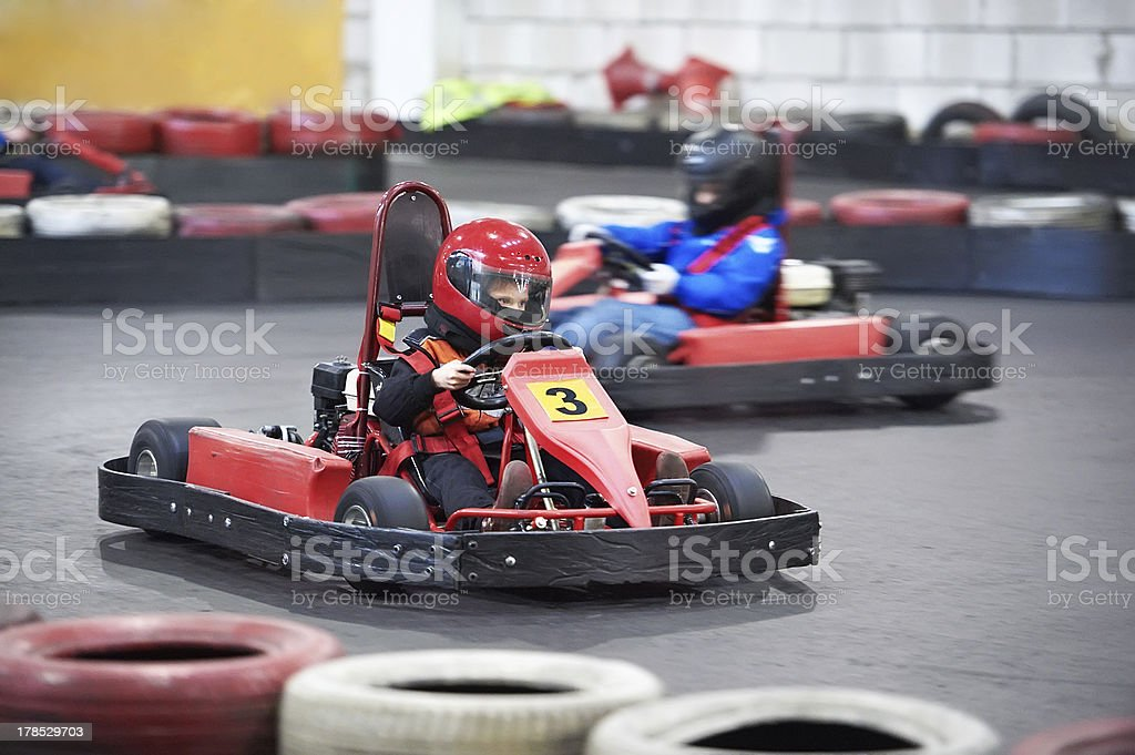 Competition for children karting stock photo