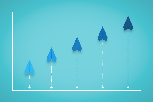 istock Competition, Growth and Progress Chart With Paper Plane 1206208533