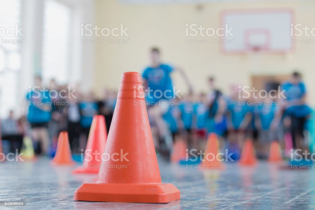 competition in the sports hall stock photo