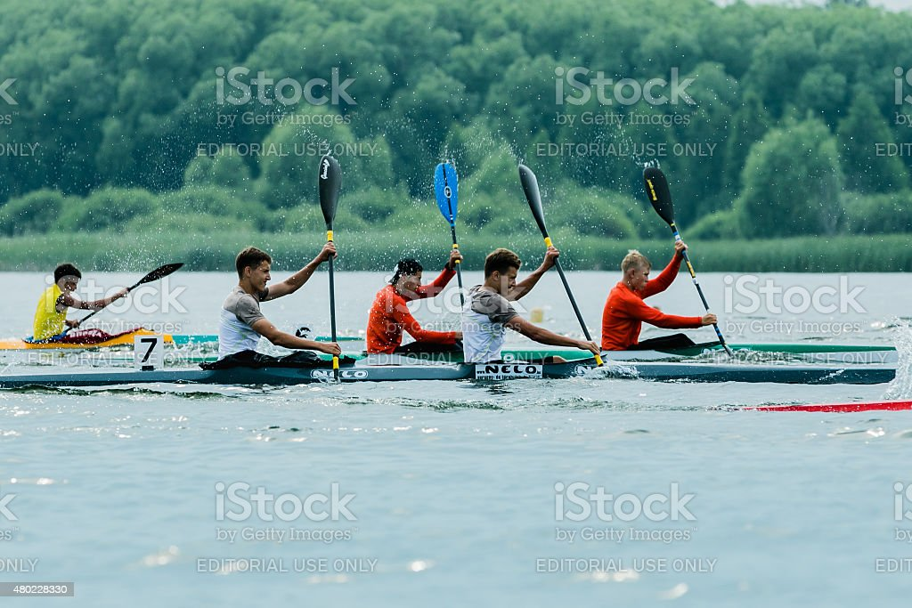 competition kayaks stock photo