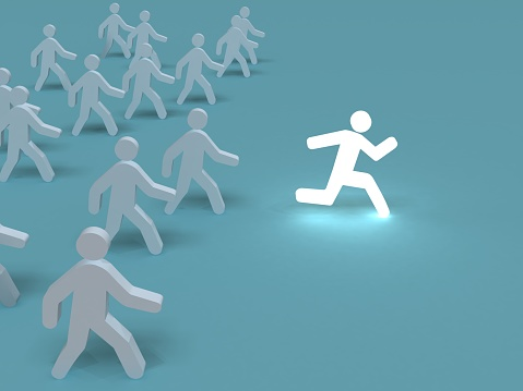 istock Competition leadership different stand out of the crowd people win 1048640968
