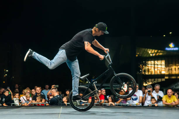 Competition on the largest platform for freestyle BMX exhibitions. stock photo