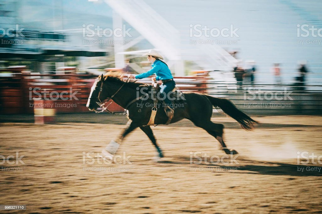 Competition Rodeo Barrel Racing stock photo