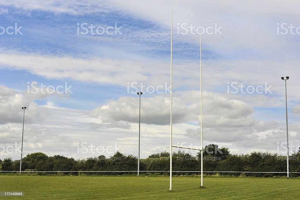 Competition Sized Rugby Goal Posts stock photo