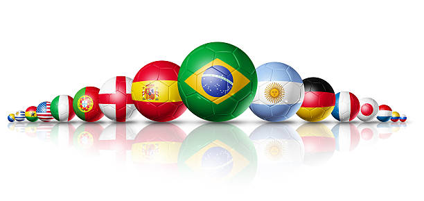 Competition soccer football balls group with teams flags stock photo