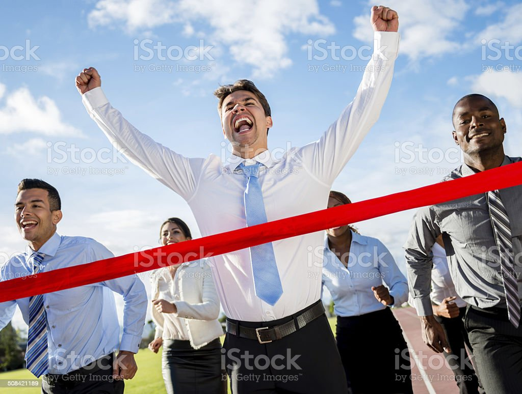 Competitive business man stock photo