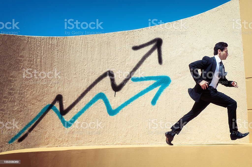 Competitive Businessman Running stock photo
