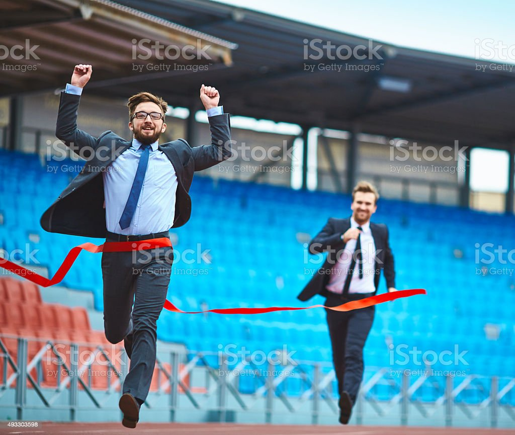 Competitive businessmen stock photo