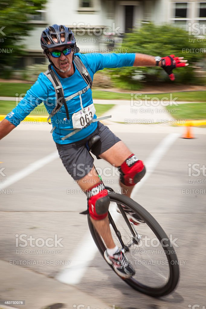 Competitor at the National Unicycling Championships Criterium stock photo