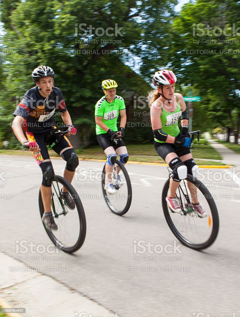 Competitors at the National Unicycling Championships stock photo