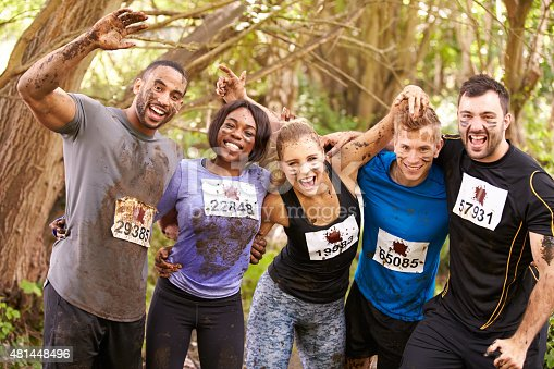 986840244 istock photo Competitors celebrate completing an endurance sports event 481448496