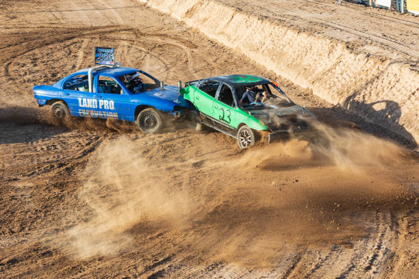 Competitors in the demolition derby in Burnet, Texas. stock photo